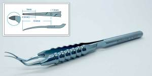 Inamura Round Handle Capsulorhexis Forceps, Serrated Cross Action Tips